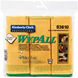 """Kimberly-Clark Wypall 83610 Microfiber Cloths with Microban Protection, 15-3/4"""" Length x 15-3/4"""" Width, Yellow (4 Packs of 6)"""