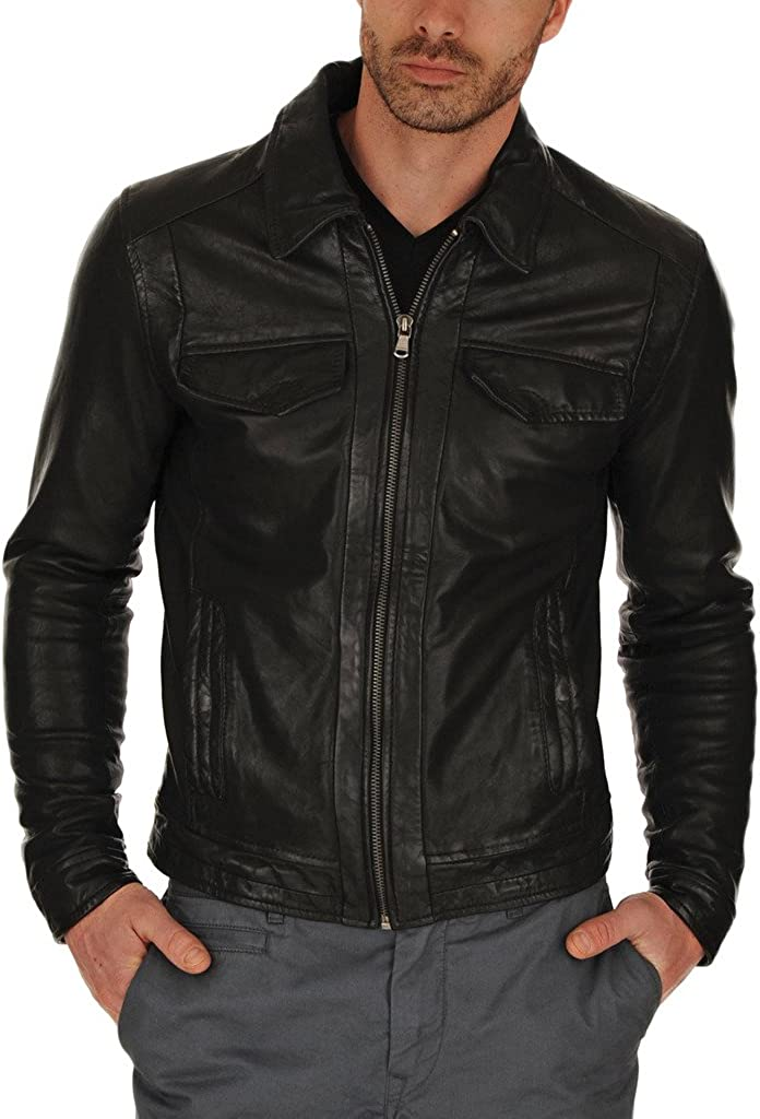 Men Leather Jacket Biker Motorcycle Coat Black Slim Fit Outwear Jackets KL011