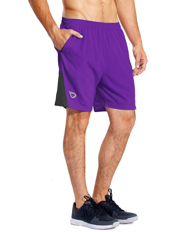 BALEAF Men's 7 Inches Athletic Running Shorts Quick Dry Mesh Liner Zip Pocket Purple Size XXXL by BALEAF