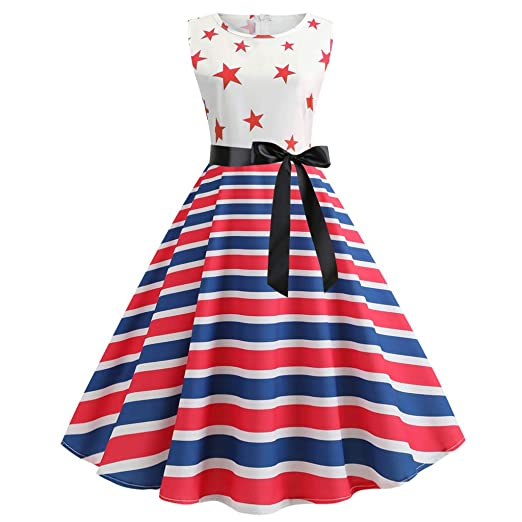 9eee9e1aead7 Amazon.com: Redacel Women Fashion American Flag Printed A-line ...