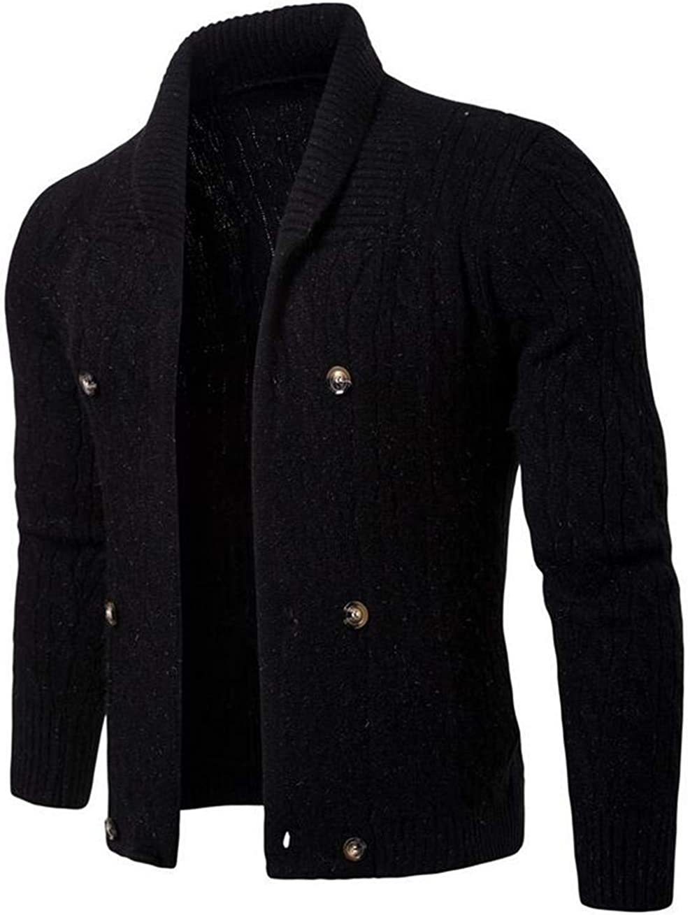 KLJR Men Slim Fit Open Front Long Cardigan Sweater Hooded Knit Cardigan