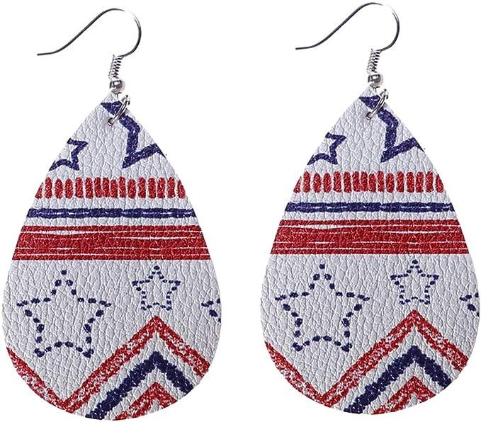 Bonarty Moda PU Cuero Estados Unidos Bandera Lágrima Estrella Impresión Cuelga Pendientes: Amazon.es: Juguetes y juegos