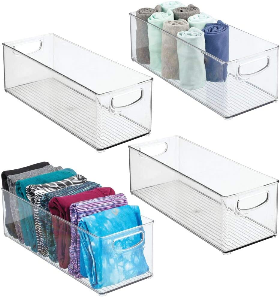 """mDesign Plastic Home Storage Basket Bin with Handles for Organizing Closets, Shelves and Cabinets in Bedrooms, Bathrooms, Entryways, and Hallways - Store Sweaters, Purses - 5"""" High - 4 Pack - Clear"""