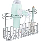 mDesign Bathroom Wall Mount Hair Care & Hot Styling Tool Organizer Storage Basket for Hair Dryer, Flat Iron, Curling Wand, Hair Straighteners, Brushes - Durable Steel in Matte White Finish