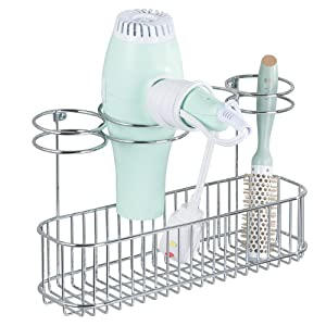 mDesign Metal Wire Cabinet/Wall Mount Hair Care & Styling Tool Organizer - Bathroom Storage Basket for Hair Dryer, Flat Iron, Curling Wand, Hair Straightener, Brushes - Holds Hot Tools - Chrome