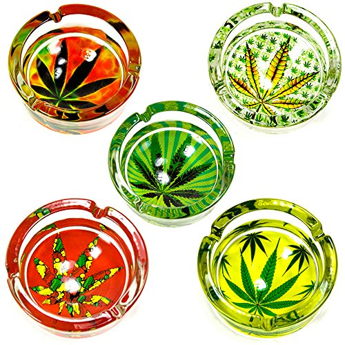 6 PC Marijuana Leaf Glass Ashtray Smoke Weed Cannabis Pot 420 Design Cigarette !
