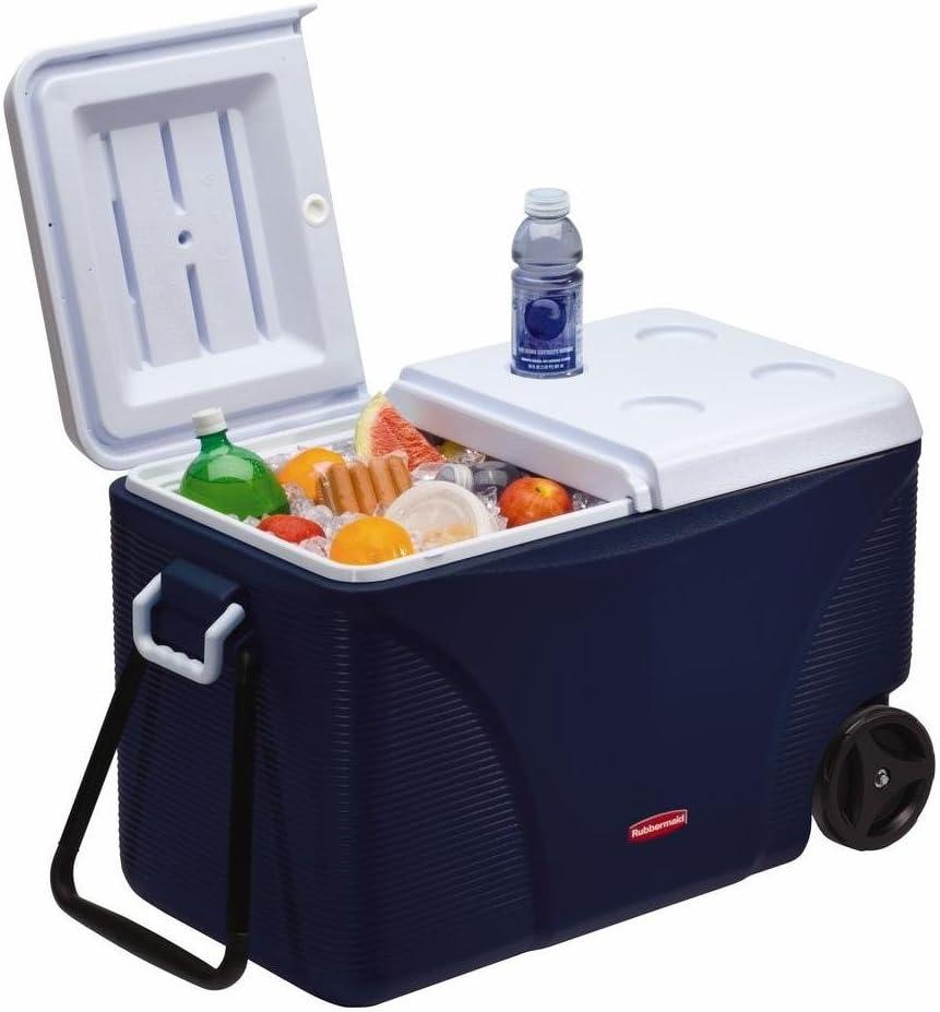 Rubbermaid DuraChill Wheeled 5-Day Cooler, 75 Quarts, Blue 1836574