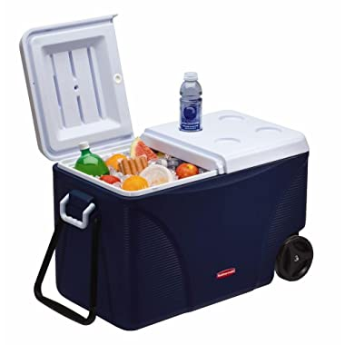 Rubbermaid DuraChill Wheeled 5-Day Cooler, 75 Quarts, Blue 1836574