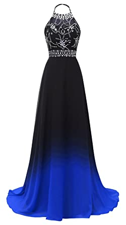 HEAR Womens Halter Gradient Chiffon Long Prom Dress Ombre Beads Evening Dresses Hear040 - - 12