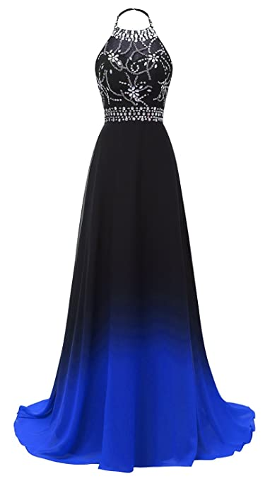 Review HEAR Women's Halter Gradient Chiffon Long Prom Dress Ombre Beads Evening Dresses Hear040