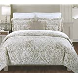 Tahari Home 300-Thread-Count Sateen Queen Paisley Medallion 3-Piece Duvet Cover Set, Silver Grey/Taupe/White
