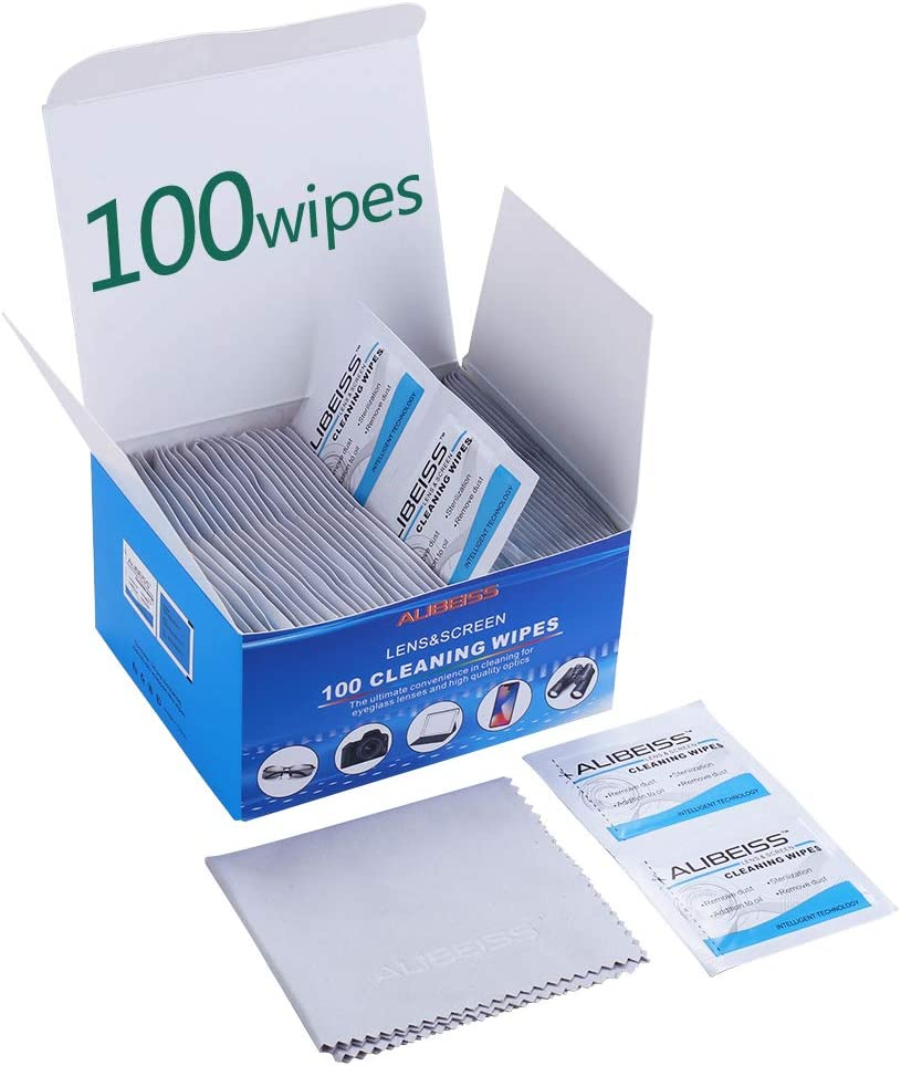 Pre-Moistened Lens Wipes ALIBEISS Screen Wipes for Glasses, Camera, iPad, Tablets, Smartphone, Screens and Other Delicate Surfaces,Pack of 100