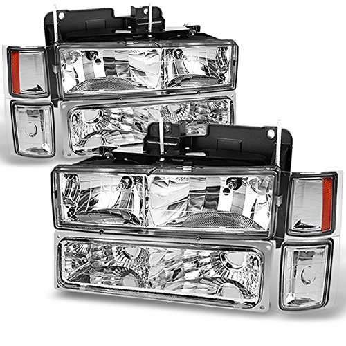 For Chevy C/K 1500/2500/3500 Tahoe Suburban Silverado Full Size C10 Headlights Driver/Passenger Headlamp
