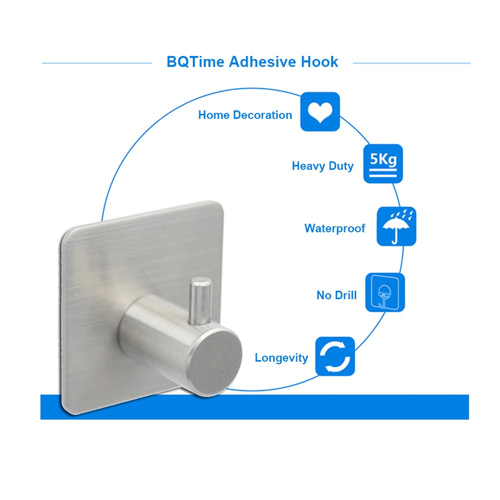 BQTime Towel Hooks 3M Self Adhesive Hooks Super Power Heavy Duty Stainless Steel Key Robe Coat Clothes Bag Hanger Holder, Wall Mounted, Waterproof, Kitchen Sink Bathroom Shower Accessories, 4 Pack by BQTime (Image #4)