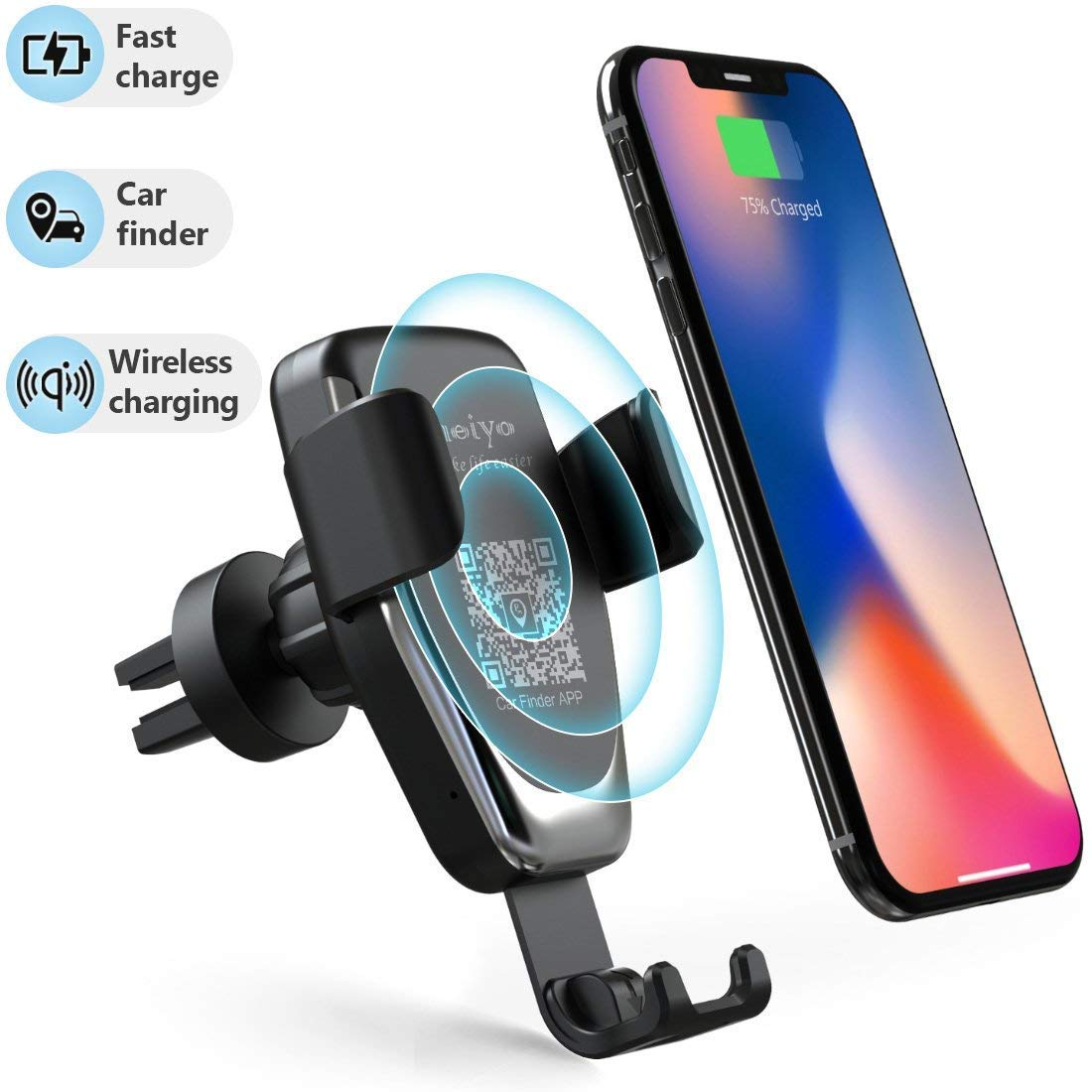 Wireless Car Charger Phone Mount, 2 in 1 Car Air Vent & Dashboard Universal Phone Holder Fast Charging Compatible with iPhone 8/8 Plus/X/XS/XR/XS MAX,Samsung Galaxy and All QI-Enabled Smartphone Heiyo