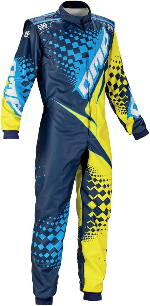 OMP KS-2R Youth Kart Racing Suit KK01725172140 Size: 140, Black//Silver//Red