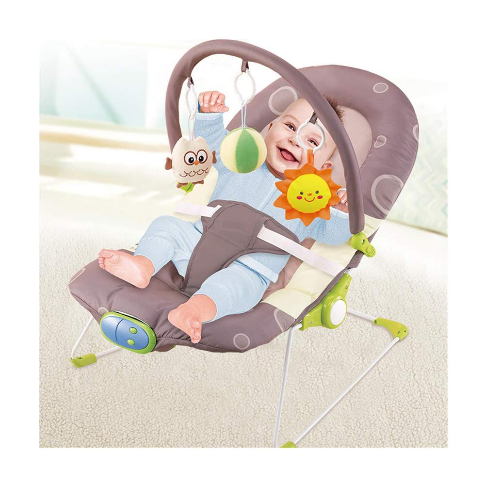JFMBJS New-Born Bouncer, Electric Rocker Chair for Baby, with Removable Toy and Music Soothing Vibrations, Adjustable Backrest by JFMBJS