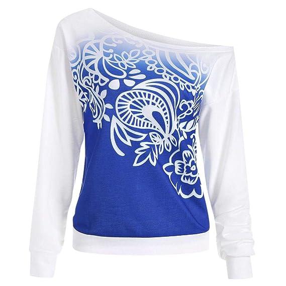 DEELIN OtoñO De La Mujer Casual Suelto Impreso Diagonal Collar De Manga  Larga Camiseta Deportiva Camisa De La Mujer Camiseta  Amazon.es  Ropa y  accesorios 3b4aa59cf705a