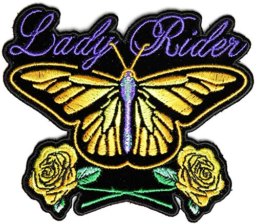 Lady Rider Butterfly With Yellow Roses Small Patch - 4x4 inch. Embroidered Iron on -