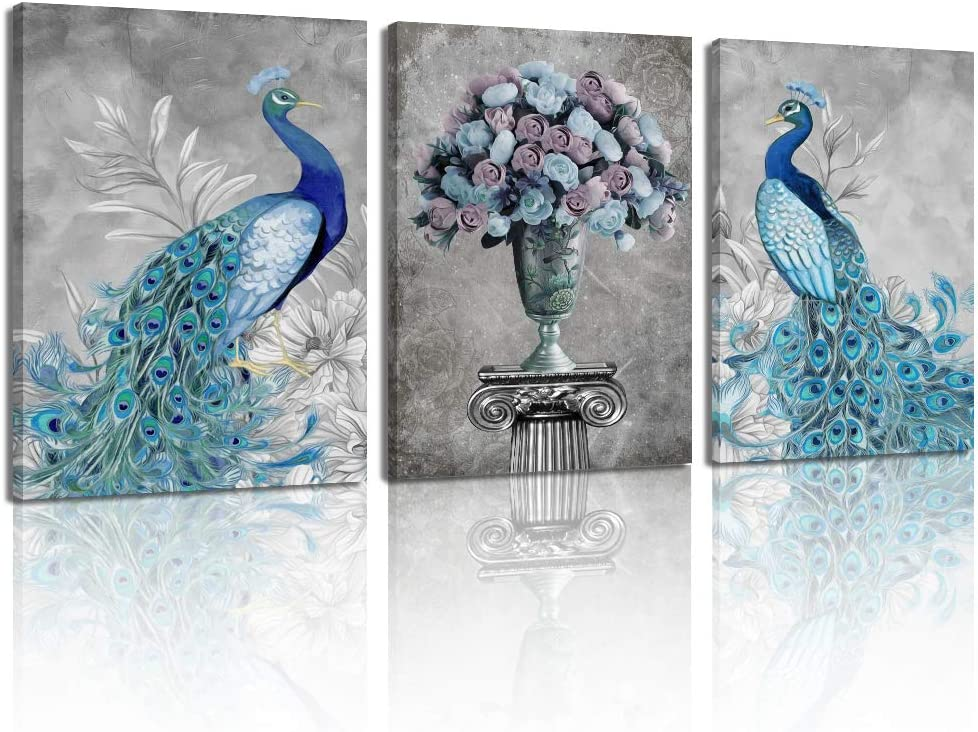 Handmade .. Unique .. Ready to hang Peacock and Mermaid Color Collage Wall Art ..