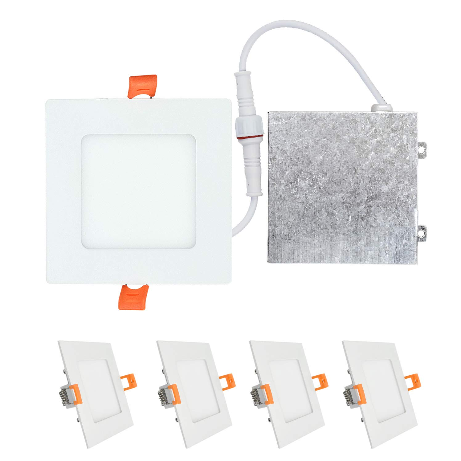 No Can Needed ETL /& Energy Star Listed Dimmable 3000K Warm Light 630 Lm OSTWIN 4 inch 9W IC Rated LED Recessed Low Profile Slim Square Panel Light with Junction Box 45 Watt Repl.