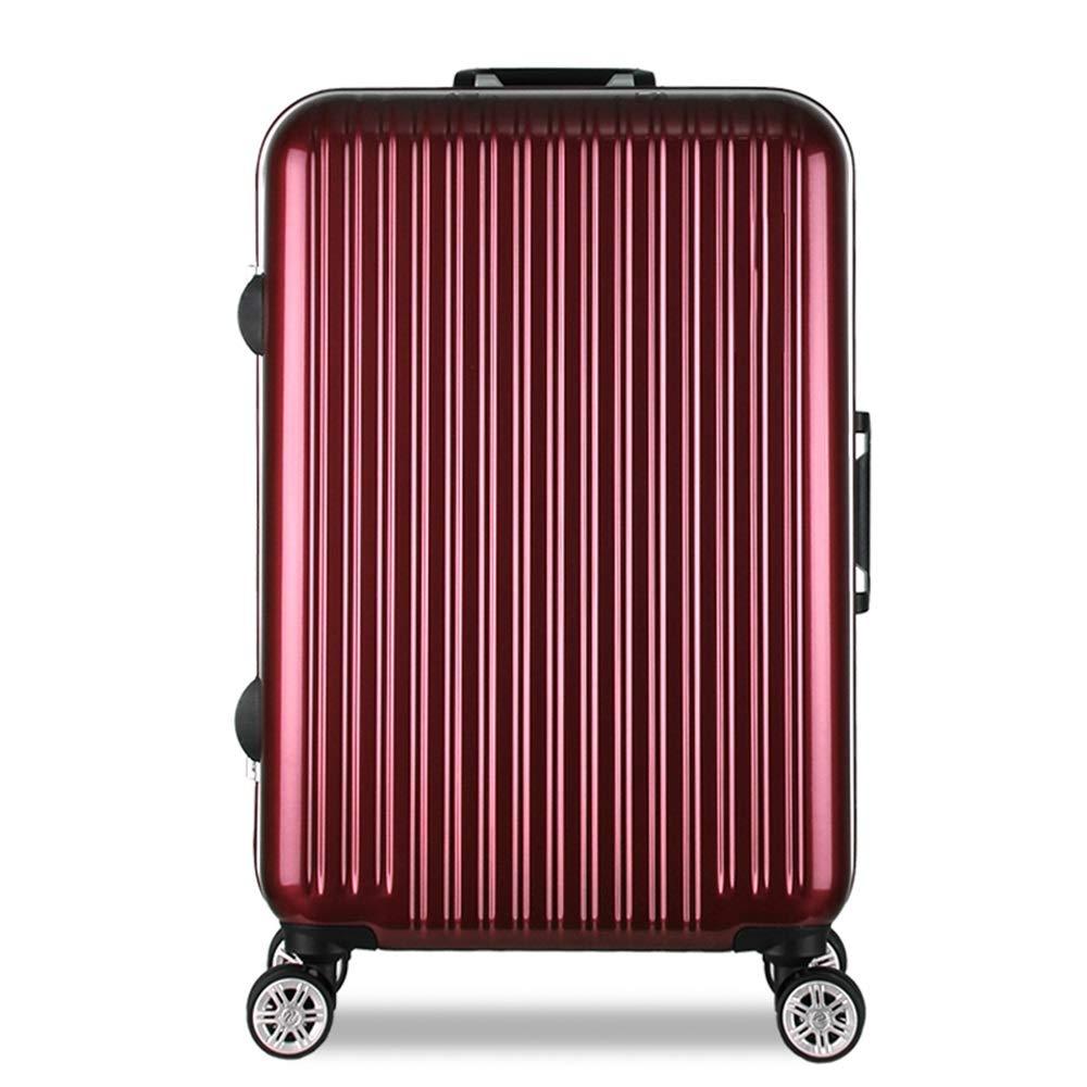 プルロッドボックス - ワインレッドミラー、アルミフレーム引きロッドボックス、サイレントユニバーサルホイール、大容量スーツケース、学生コード、荷物コンパートメント、2サイズ。 (サイズ さいず : 24 inches)   B07MK67XS4