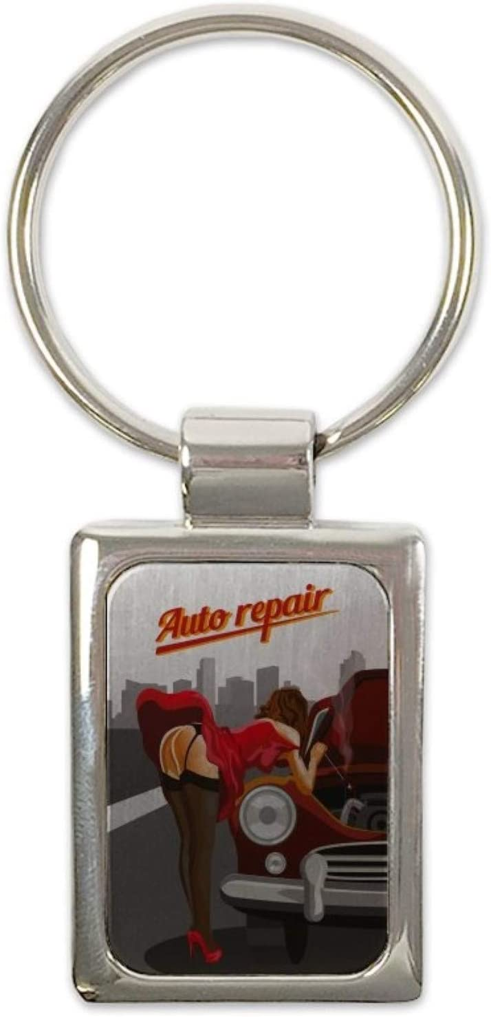 LEotiE SINCE 2004 Porte-cl/és /étiquette de Bagage Cl/é de la Moto Pin Up Art Adulte R/éparation Auto imprim/ées