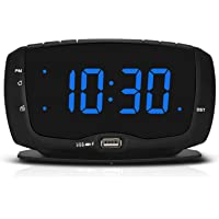 DreamSky Alarm Clock Radio for Bedroom with Dual USB Charging Ports,1.4 Inches Blue Digits with Adjustable Dimmer…