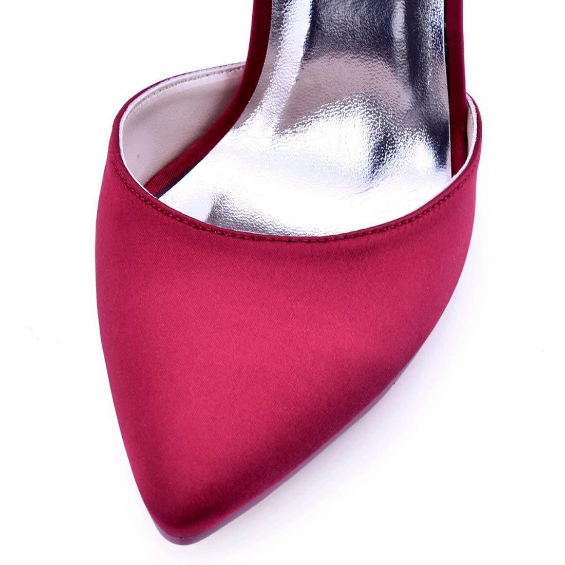 Qiusa Damen Damen Damen Spitze Knöchelriemen Burgund Satin Abend Hochzeit Pumps UK 2 (Farbe   -, Größe   -) 2afed9