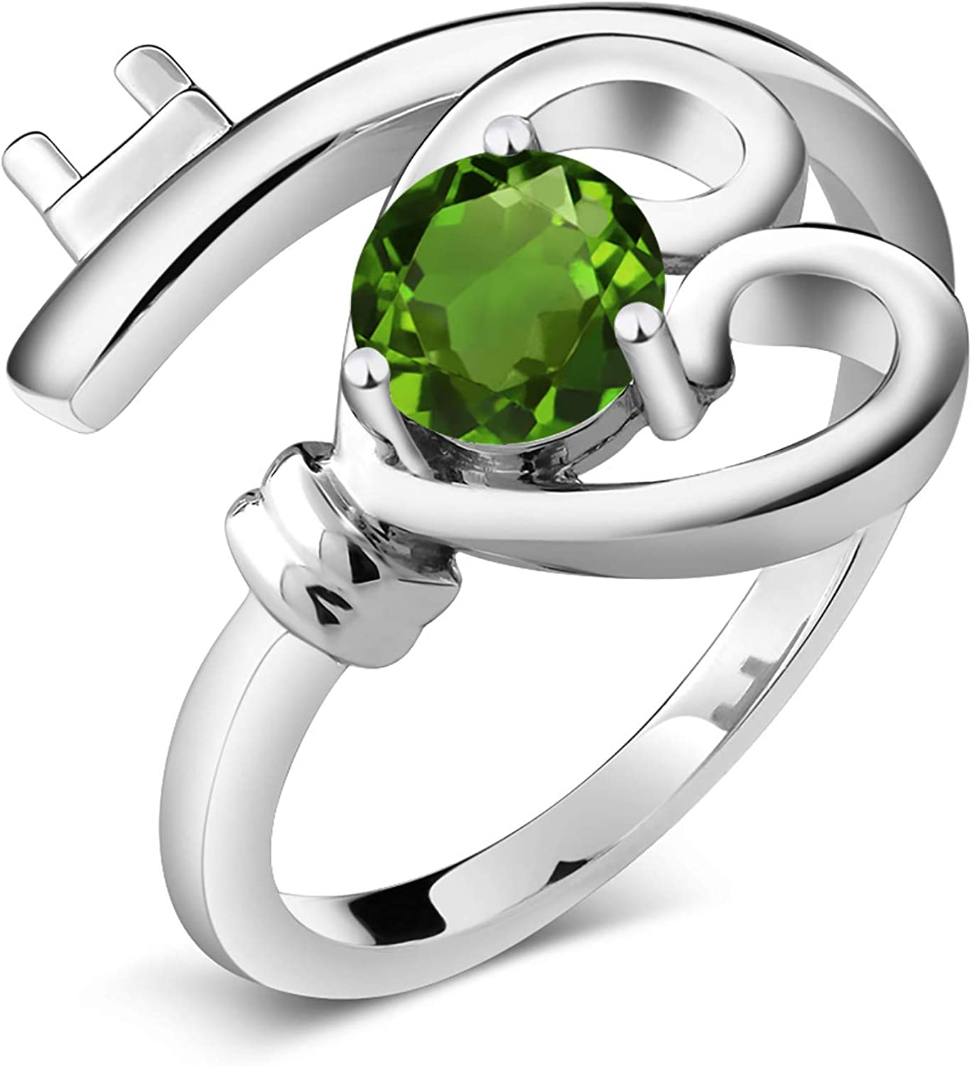 Gem Stone King 0.50 Ct Green SI1//SI2 Chrome Diopside 925 Sterling Silver Mens Solitaire Ring