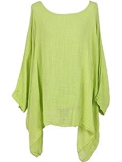 10a2010e985 New Ladies Lagenlook Batwing Top Women Plain Linen Tunic Top Plus sizes