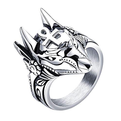 Amazon.com: UNAPHYO - Anillo de acero inoxidable para hombre ...