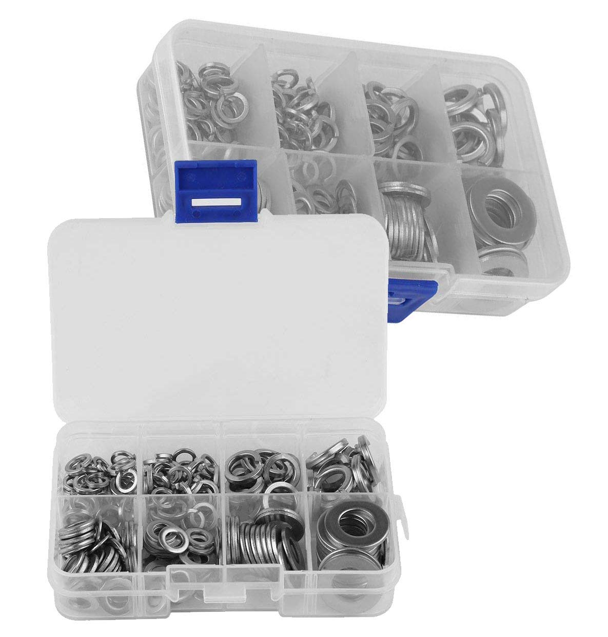 400PC FLAT /& SPRING WASHERS ASSORTED STAINLESS STEEL DIY RUST RESISTANT IN CASE
