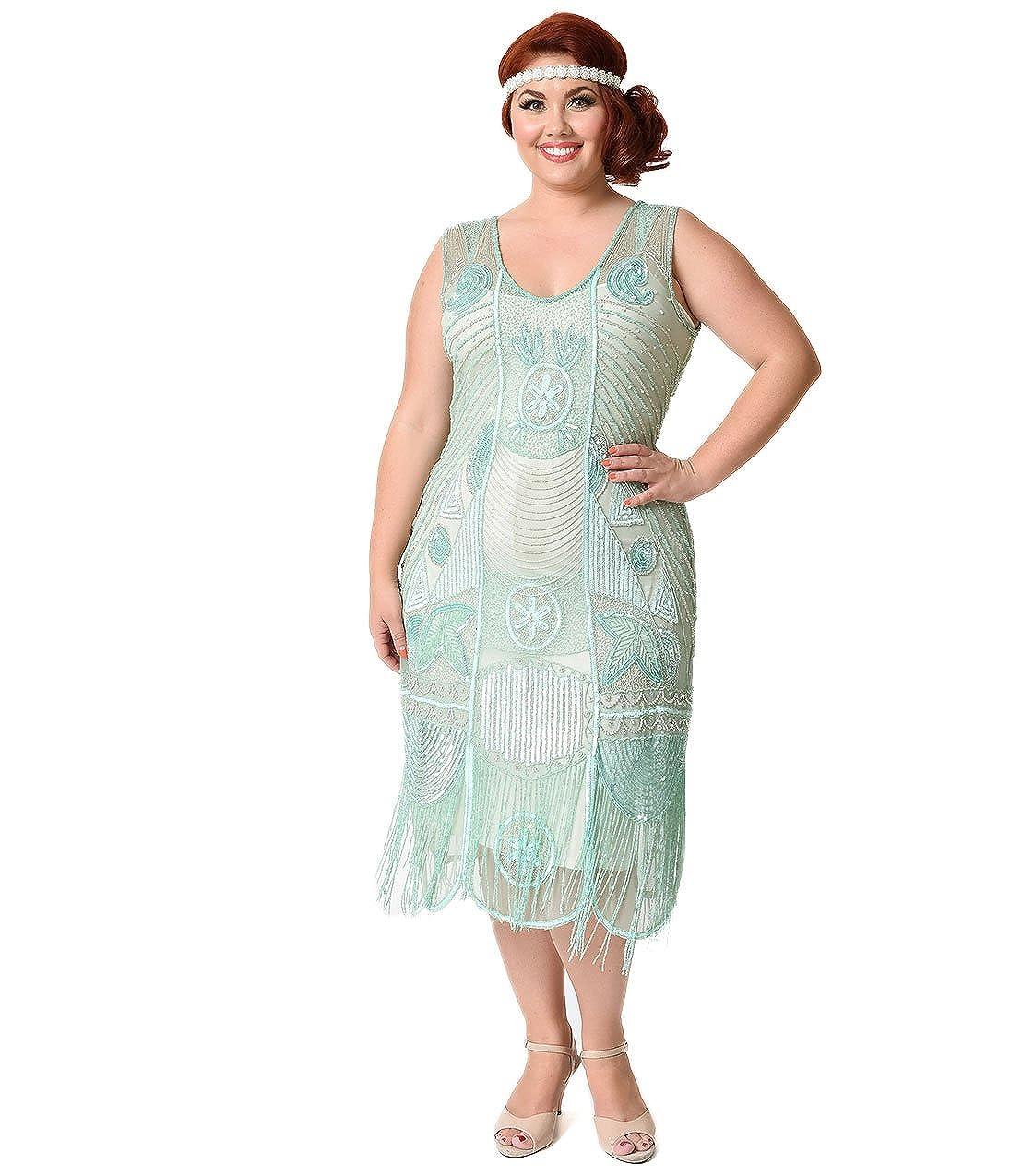922a5624c73 Top2  Unique Vintage Plus Size 1920s Style Mint Beaded Fringe Bosley  Flapper Dress