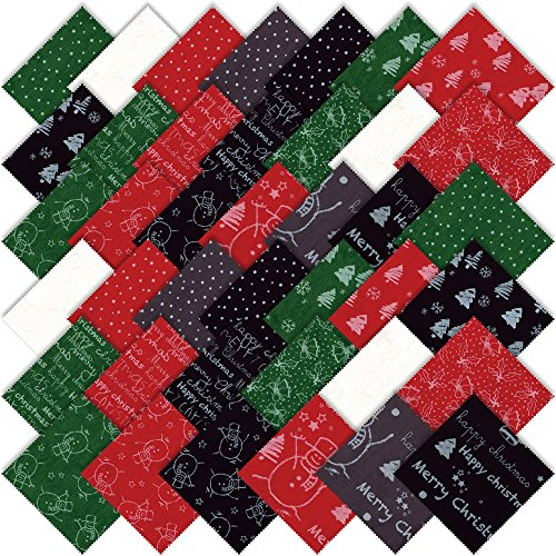 "Merry Scriptmas Charm Pack by Moda Classics; 42-5"" Precut Fabric Quilt Squares"