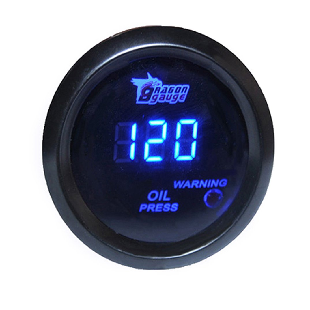 HOTSYSTEM Universal 2' 52mm Black OIL PRESSURE GAUGE DIGITAL BLUE LED HS-C017012+W3-2