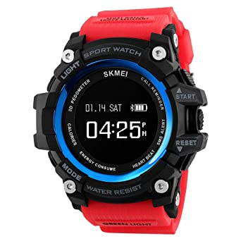 Tonnier Watch Men Sports Smart Watch Calorie Heart Rate Pedometer Remote Camera Bluetooth Digital SmartWatch with PU Band