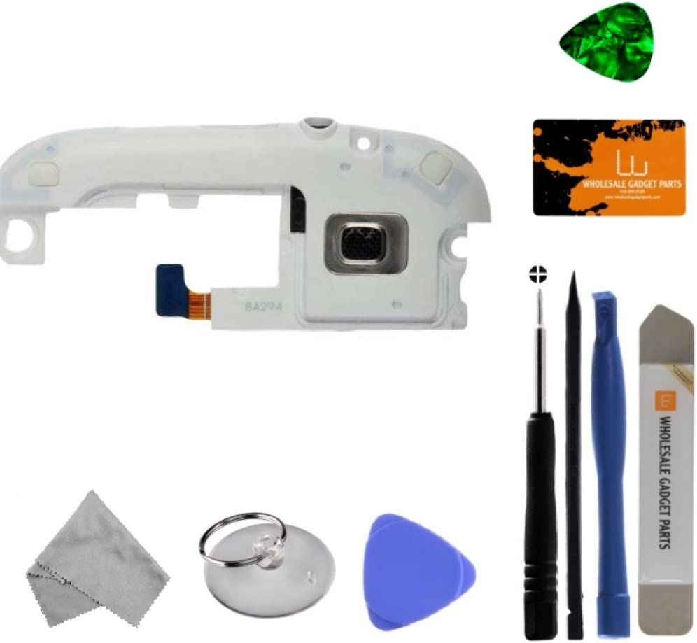 Marble White Ringer Speaker with Headphone Jack for Samsung L710 Galaxy S III with Tool Kit