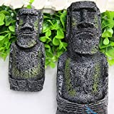 Kangkang@ 2 PCS Ancient Easter Island Head Statue Portrait Aquarium Fish Tank Ornament Home Desktop Decoration Accessories
