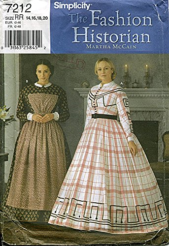 (Simplicity Pattern 7212 The Fashion Historian by Martha McCain Civil War Gown, Size RR)