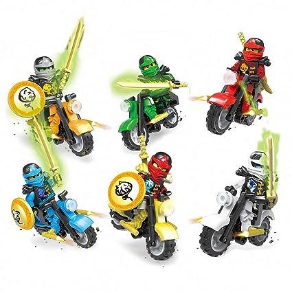 6 Pieces Minifigures with Motorcycle, Ninja Set Building Blocks Action Figures Toy, Kids Gift 0322