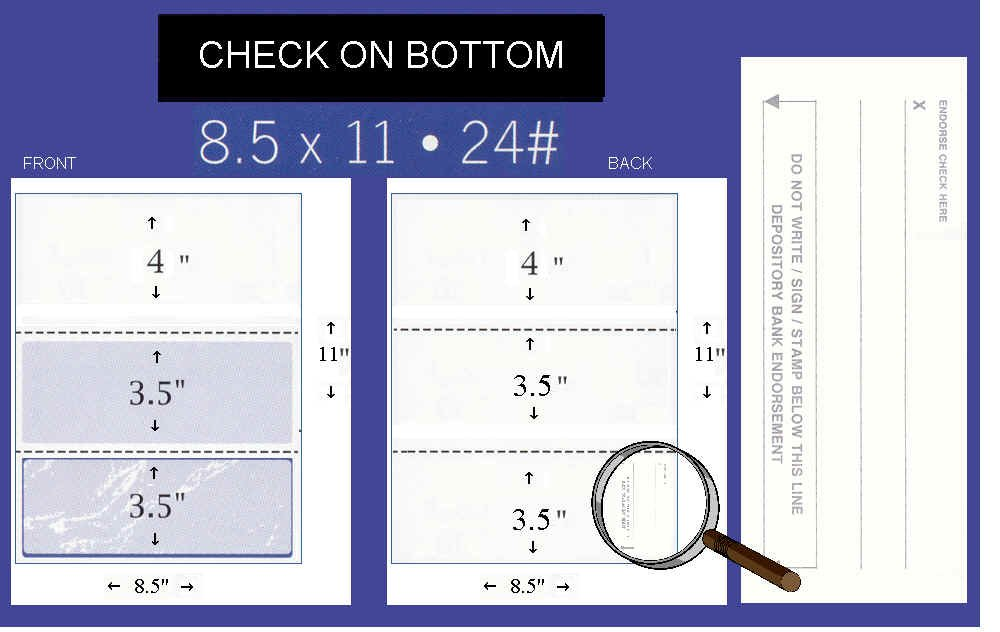 2500 Blank Check Stock - Check on Bottom - Blue/Green