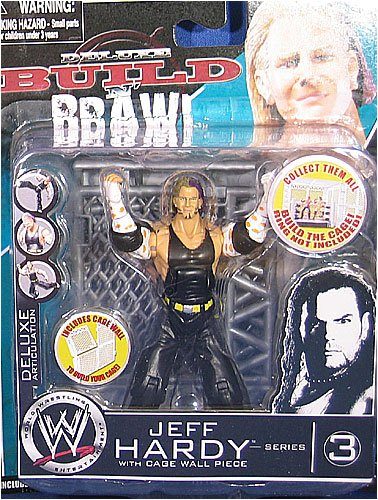 WWE Wrestling Build N' Brawl Series 3 Mini 4 Inch Action Figure Jeff Hardy (With Cage (Wwe Build N Brawl Ring)