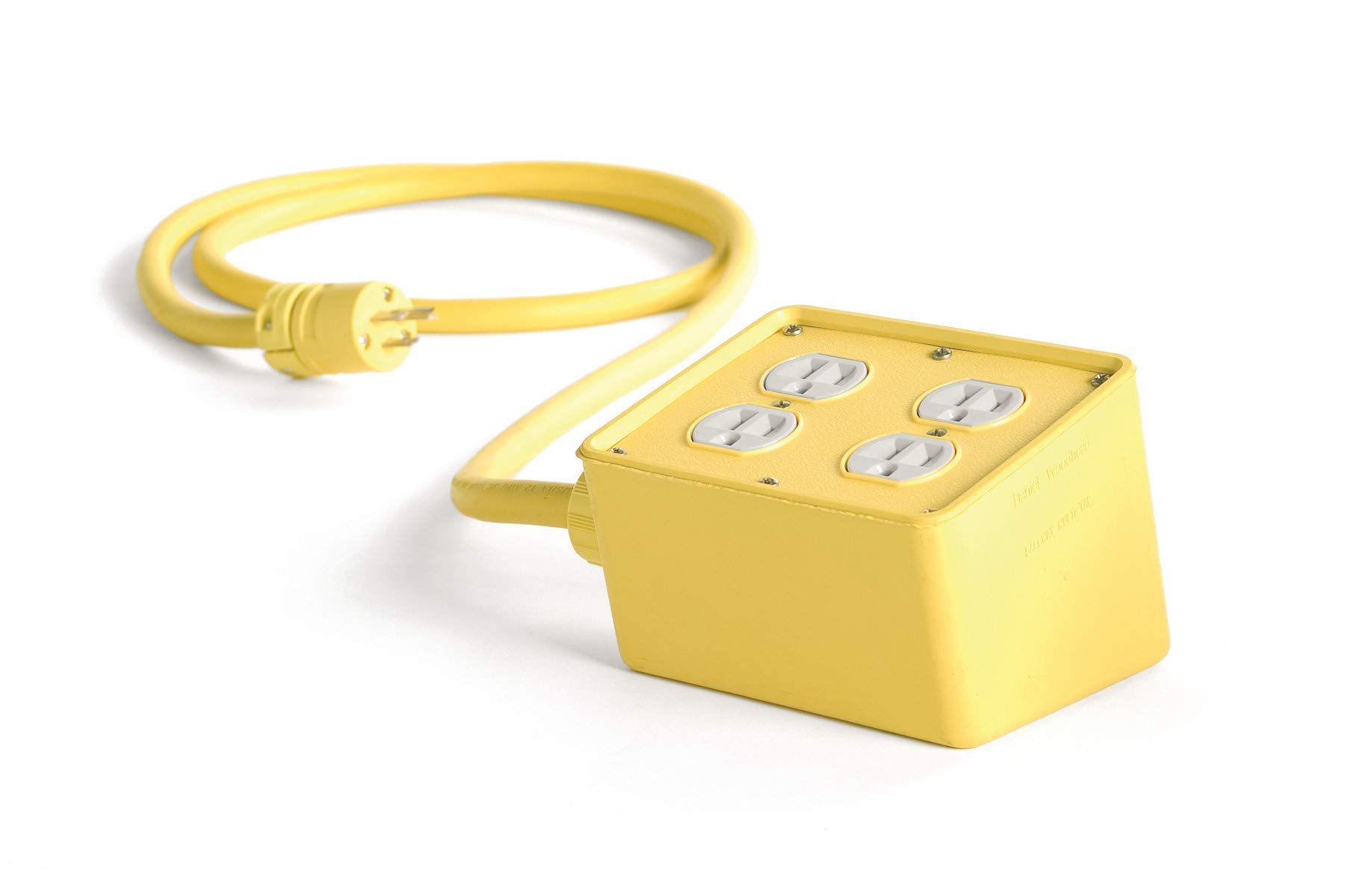 Woodhead 3330A123 Super-Safeway Angled Outlet Box, NEMA 5-15 Configuration, 12/3 SOOW Cord Type, 25ft Cord Length