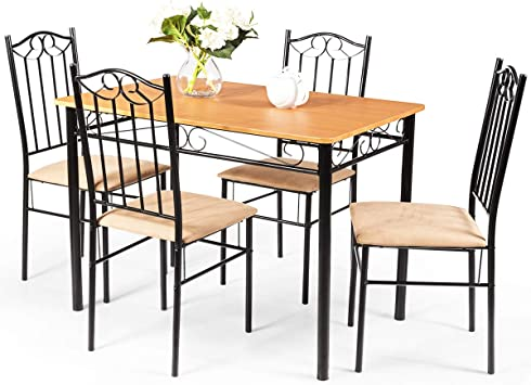 Tangkula Dining Table Set 5 Piece Home Kitchen Dining Room Wood Top Table and Chairs Breaksfast Furniture Black 003