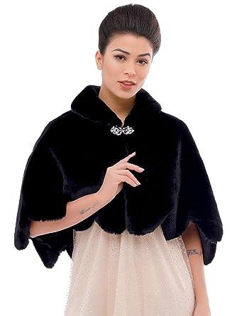 a9b1f6d8fb Aukmla Wedding Party Fur Wraps and Shawls Bridal Fur Stole Sleeveless Faux  Fur Shawl with Stunning