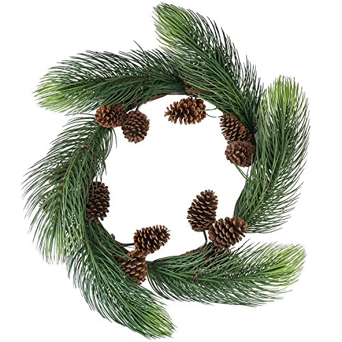 Silk Decor Unlit Long Pine Needle Artificial Christmas Wreath with Pine Cones, 30