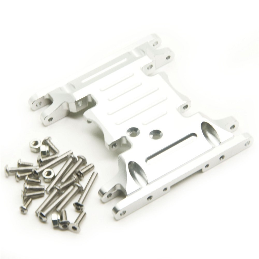 1/10 Crawlers Car Parts Silver Aluminum Alloy Center Skid Transmission Plate for RC Axial SCX10 90046 XUNJIAJIE