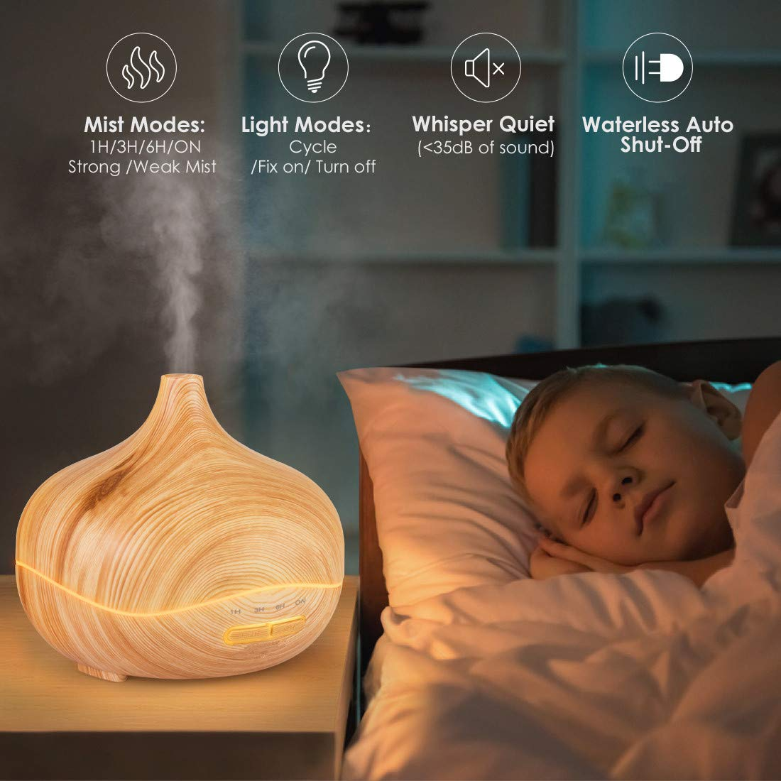 Ufficio Baby Room Diffusore di Aromi 300ml Diffusore di Olio Essenziale Ultrasuoni Umidificatore Silenzioso Vaporizzatore con 7 LED Colorati Albergo Casa Regalo di Aster