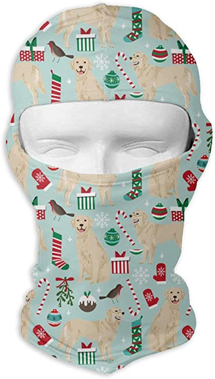 Wind-Resistant Face Mask LaoJi Christmas Theme Golden Retriever Dog Winter Ski Mask Balaclava Hood